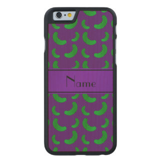 Personalized name purple green pickles carved® maple iPhone 6 slim case