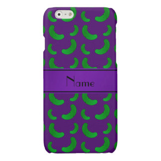 Personalized name purple green pickles glossy iPhone 6 case