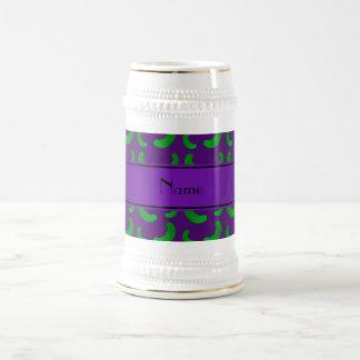 Personalized name purple green pickles mug
