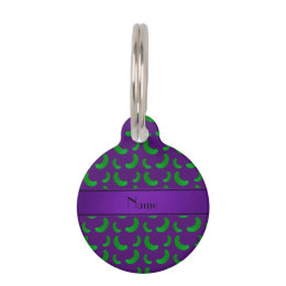 Personalized name purple green pickles pet ID tag