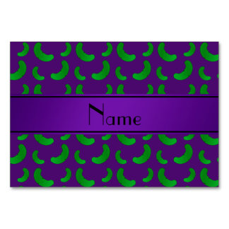 Personalized name purple green pickles table cards