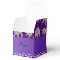 Personalized name purple grey elephants favor box