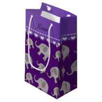 Personalized name purple grey elephants small gift bag