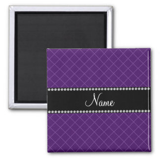 Personalized name purple grid pattern magnets