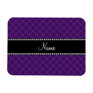 Personalized name purple grid pattern rectangle magnet