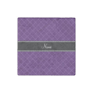 Personalized name purple grid pattern stone magnet
