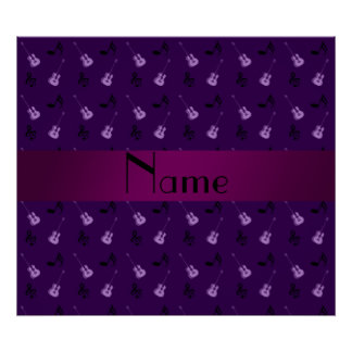 Personalized name purple guitar pattern poster