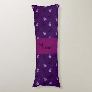 Personalized name purple guitars body pillow