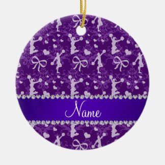 Personalized name purple gymnastics damask ceramic ornament