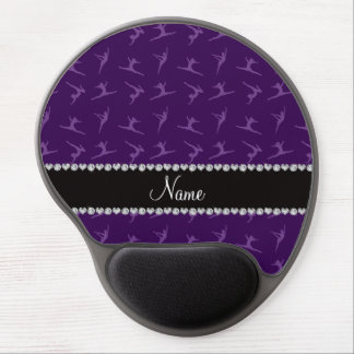 Personalized name purple gymnastics pattern gel mouse mats