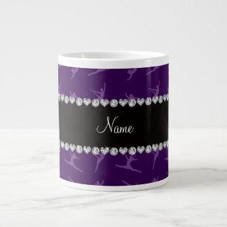 Personalized name purple gymnastics pattern giant coffee mug