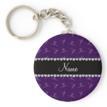 Personalized name purple gymnastics pattern keychain