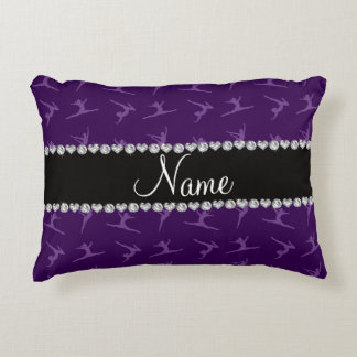 Personalized name purple gymnastics pattern accent pillow