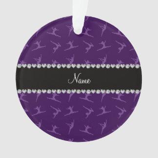 Personalized name purple gymnastics pattern ornament