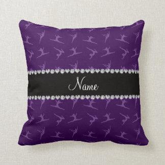 Personalized name purple gymnastics pattern throw pillows