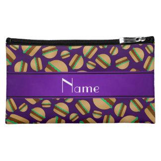 Personalized name purple hamburger pattern makeup bag