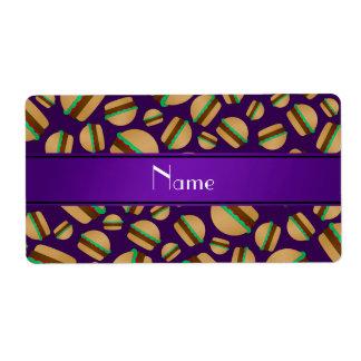 Personalized name purple hamburger pattern personalized shipping labels