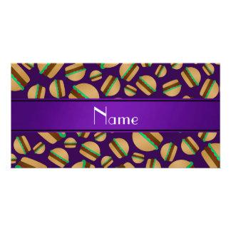 Personalized name purple hamburger pattern custom photo card