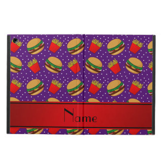 Personalized name purple hamburgers fries dots iPad air covers