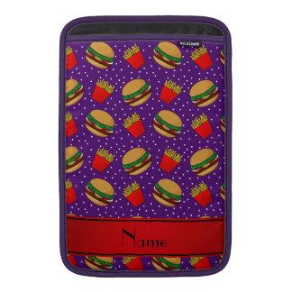 Personalized name purple hamburgers fries dots MacBook air sleeve