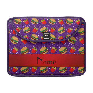 Personalized name purple hamburgers fries dots sleeves for MacBooks
