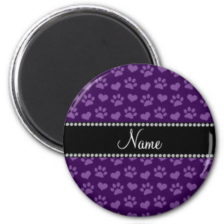 Personalized name purple hearts and paw prints 2 inch round magnet