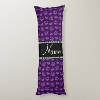 Personalized name purple hearts and paw prints body pillow