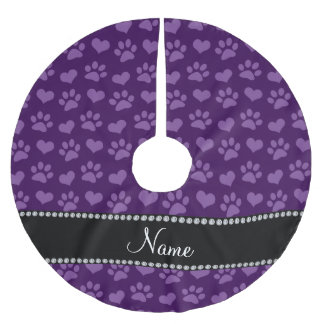 Personalized name purple hearts and paw prints brushed polyester tree skirt