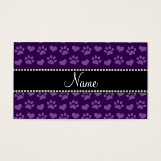 Personalized name purple hearts and paw prints business card