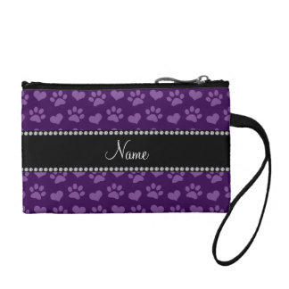 Personalized name purple hearts and paw prints coin wallet