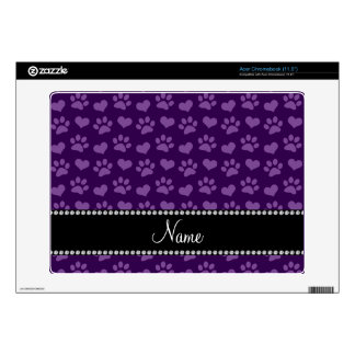 Personalized name purple hearts and paw prints decal for acer chromebook