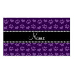 Personalized name purple hearts and paw prints Double-Sided standard business cards (Pack of 100)