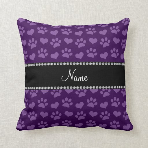 Personalized name purple hearts and paw prints pillow