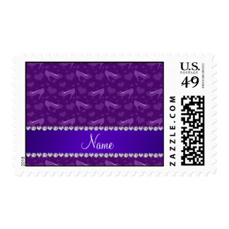 Personalized name purple hearts shoes bows postage