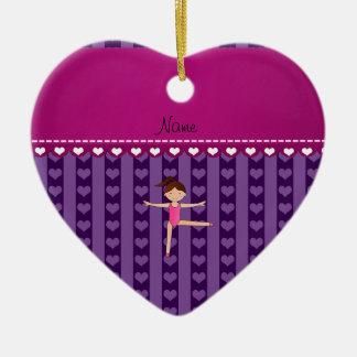 Personalized name purple hearts stripes gymnast ceramic ornament