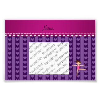 Personalized name purple hearts stripes gymnast photo art