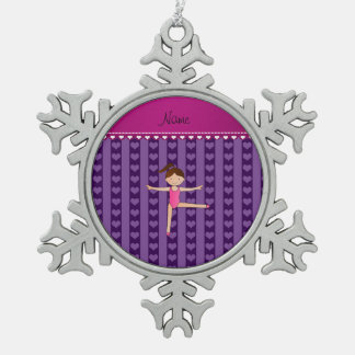 Personalized name purple hearts stripes gymnast snowflake pewter christmas ornament