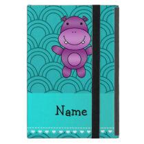 Personalized name purple hippo turquoise pattern iPad mini cover