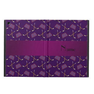 Personalized name purple hockey pattern iPad air cover