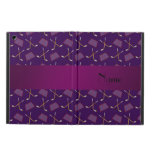 Personalized name purple hockey pattern iPad air case