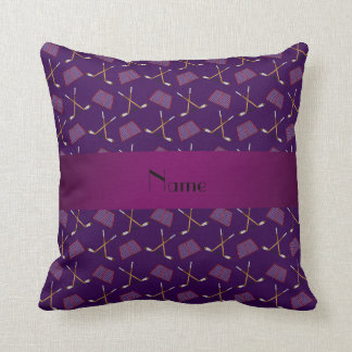 Personalized name purple hockey pattern throw pillow