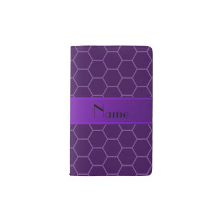 Personalized name purple honeycomb pocket moleskine notebook cover with notebook