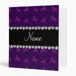 Personalized name purple horse pattern 3 ring binder