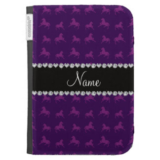 Personalized name purple horse pattern cases for the kindle