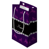 Personalized name purple horse pattern small gift bag