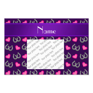 Personalized name purple horseshoes pink hearts photo print
