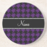 Personalized name Purple houndstooth pattern Drink Coaster