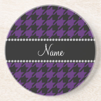 Personalized name Purple houndstooth pattern Coaster