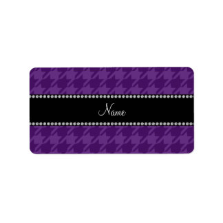 Personalized name purple houndstooth pattern label