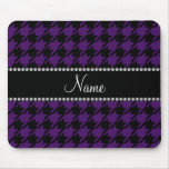 Personalized name Purple houndstooth pattern Mousepad